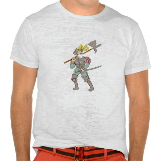 Spanish Conquistador Ax Sword Cartoon Shirt. Illustration of a spanish conquistador standing walking holding ax lance on shoulder and sword in the other hand looking to the side viewed from front set on isolated white background done in cartoon style. #Illustration #SpanishConquistadorAxSword