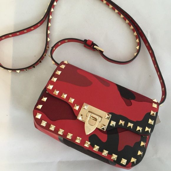 Valentino Bags - NEW Valentino Red Camo Patchwork Rockstud Bag