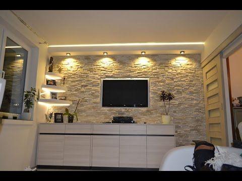 Ściana TV w kamieniu ozdobnym dekoracyjnym,ozdobnym,TV in the stone wall...
