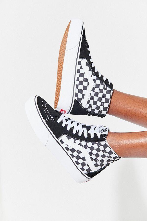 Slide View  1  Vans Sk8-Hi Platform 2.0 Checkerboard Sneaker b4dc01e5aad