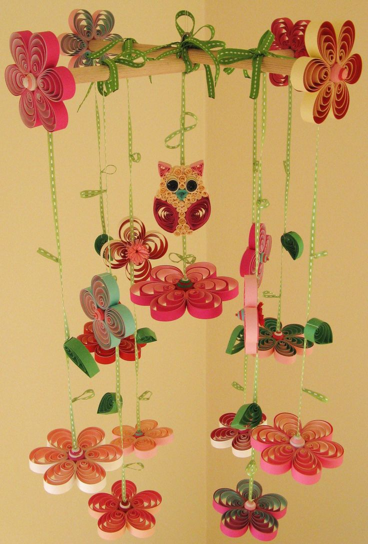 Owl Mobile - Nursery Mobile - Flower Mobile - Cradle Mobile - Nursery Decoration - Baby Mobil - Quilled Handmade Mobile 1E, via Etsy.