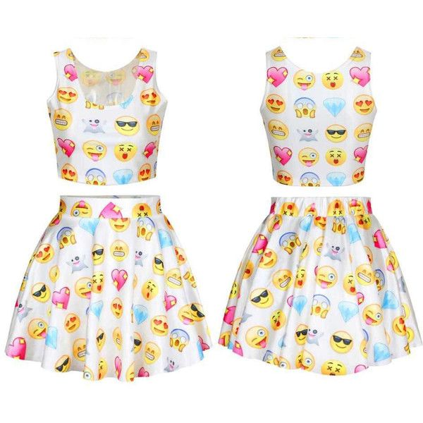 Chic Emoji shirt crop fashion emoji skirt set ladies blouse girls... ($35) ❤ liked on Polyvore