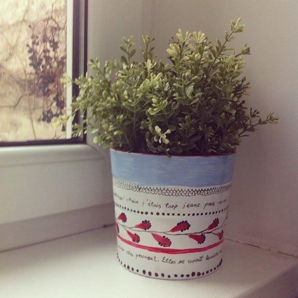flower pot, dot technique and painting