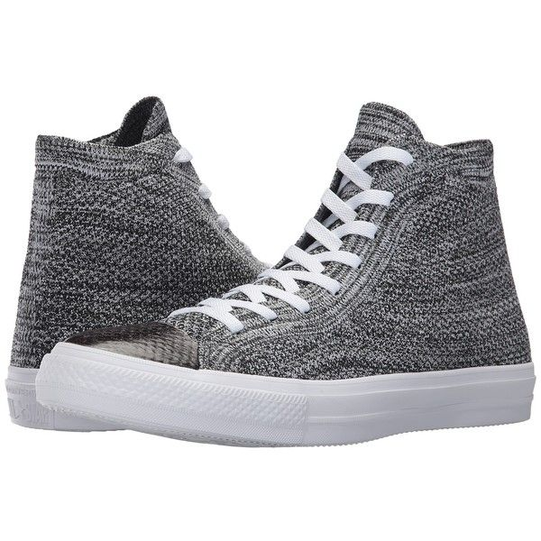 Converse Chuck Taylor All Star X Nike Flyknit Hi (Black/Wolf... ($110) ❤ liked on Polyvore featuring shoes, sneakers, converse sneakers, black hi tops, white sneakers, converse high tops and grey sneakers