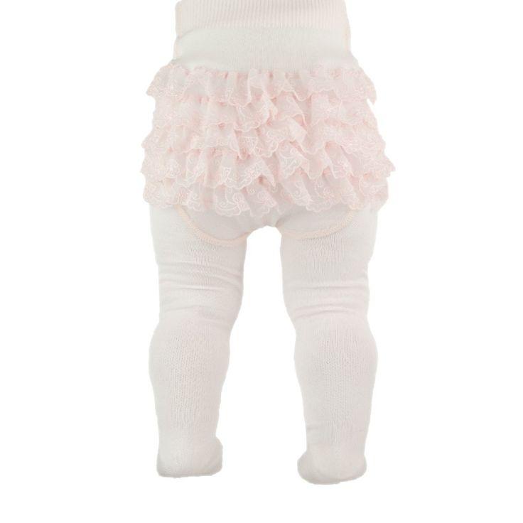 Roze kanten babymaillot met ruches. Glans katoenen maillot met achterop 5 kanten stroken. Gemaakt in Italie.