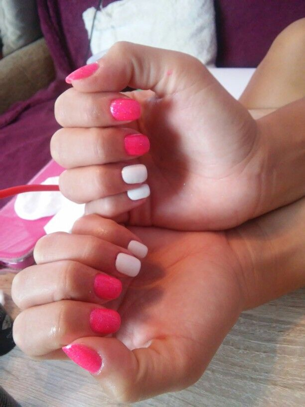 Semilac white and pink nails