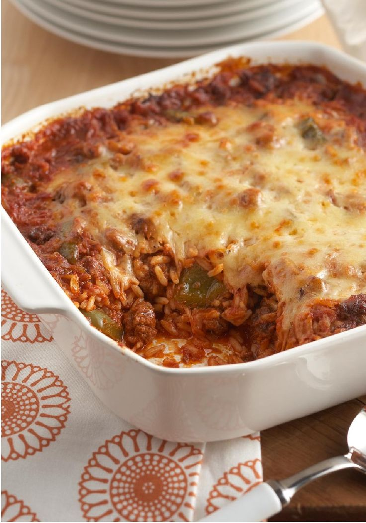 Undone Stuffed Pepper Casserole — Well done, we say. In this cheesy Undone Stuffed Pepper Casserole recipe, featuring KRAFT Cheese and CLASSICO FAMILY FAVORITES Traditional Pasta Sauce, layering the ingredients saves time and delivers big flavor.
