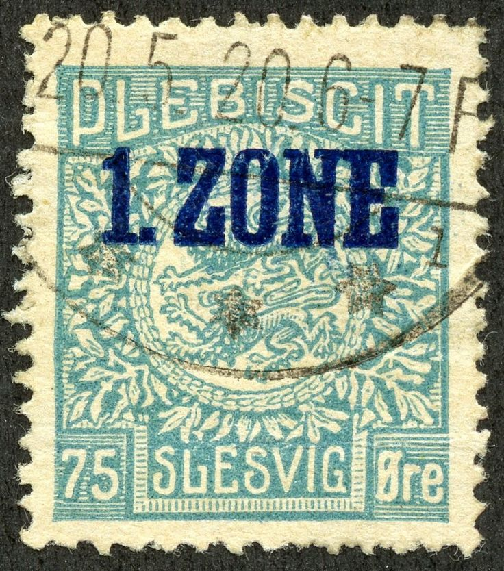 "Schleswig 1920 Scott 24 75o greenish blue ""Arms"" Types of 1920 Overprinted in Blue"