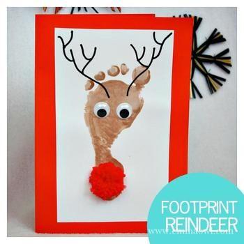 おとぼけの表情が可愛いトナカイのカード。ちっちゃな手足に絵の具を塗ってペタっとするだけなので、赤ちゃんだって大丈夫!毎年続ければ、子供達の成長を記録する素敵なポストカードになりそうですね。  【材料】 ・ポストカード ・絵の具 ・マジック ・目玉 ・赤いポンポン(鼻用)  【作り方】 茶色い絵の具でお子さんの足型を取ったら、目、鼻、ツノを足せば完成!