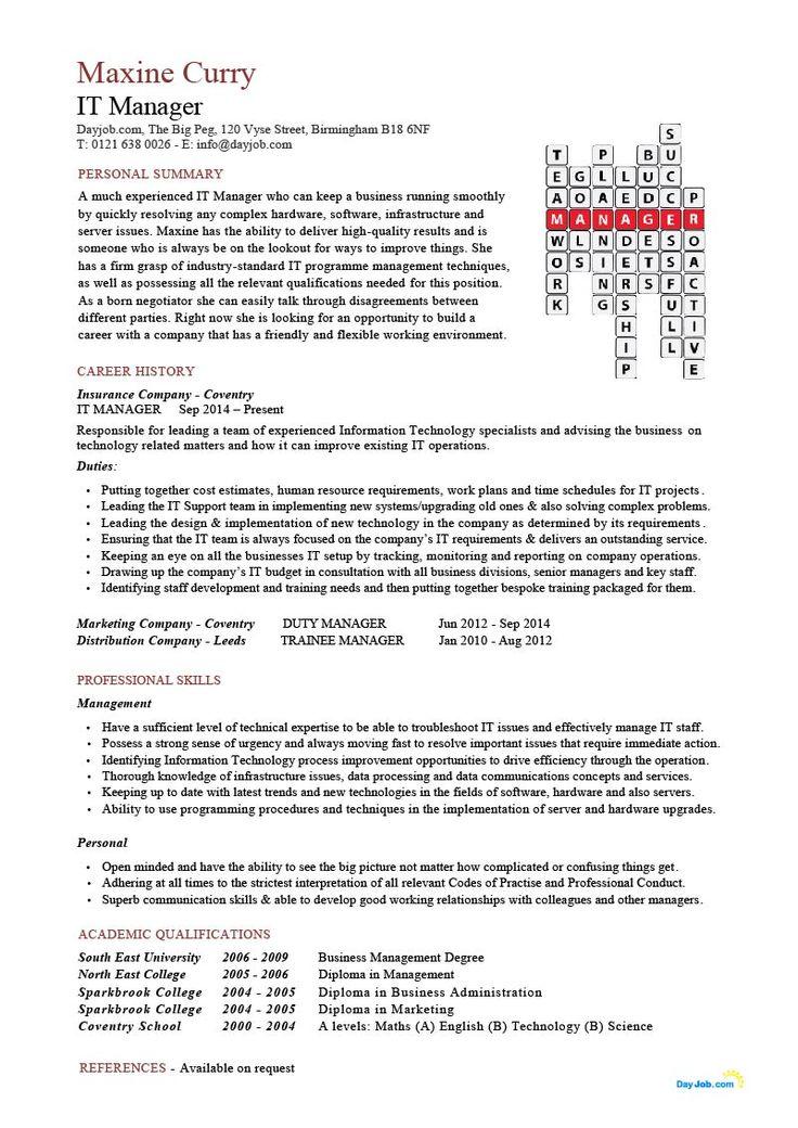 IT manager CV sample Medical assistant resume, Teacher
