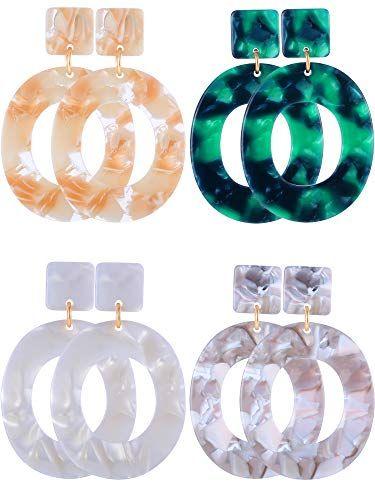 caca64bb0 Jetec 4 Pairs Acrylic Earrings Hoop Drop Earrings Bohemian Statement  Earrings Resin Mottled Stud Earrings for Women Girls Jewelry Simple and  elegant: These ...