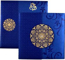 Designer Indian blue color card  by http://www.theweddinginvitationcards.com