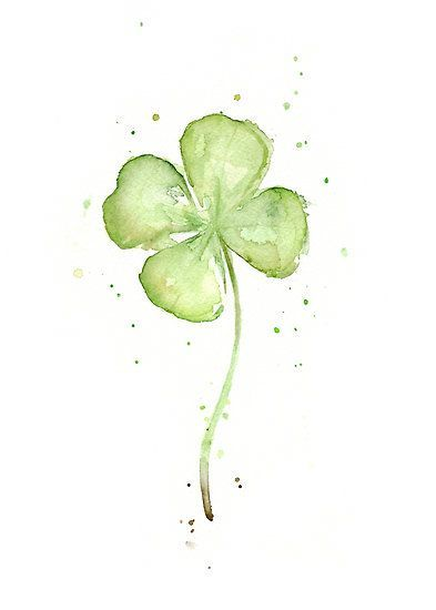 Four Leaf Clover Watercolor by OlechkaDesign: