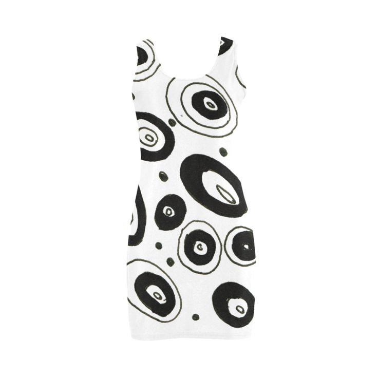 New designers dress : black and white circles. Young designers fashion! Arrival for 2016 Medea Vest Dress (Model D06).