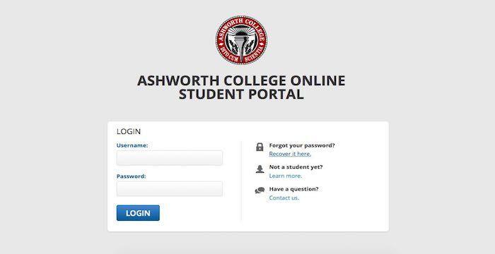 ashworth college login portal