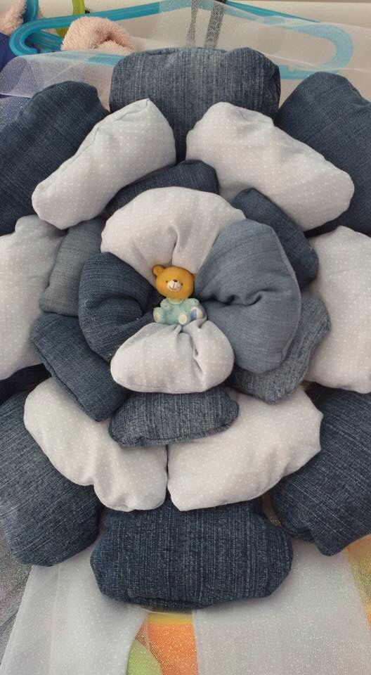 Fiocco naso a fiore in jeans e stoffa