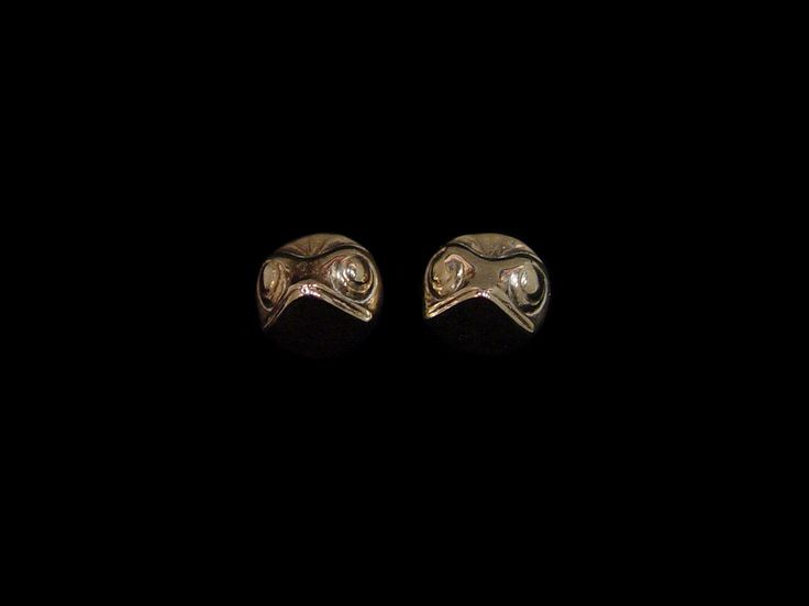 "Frog Stud Earrings cast in Sterling Silver by Jay Simeon, Haida. Measuring 0.5"" diameter."