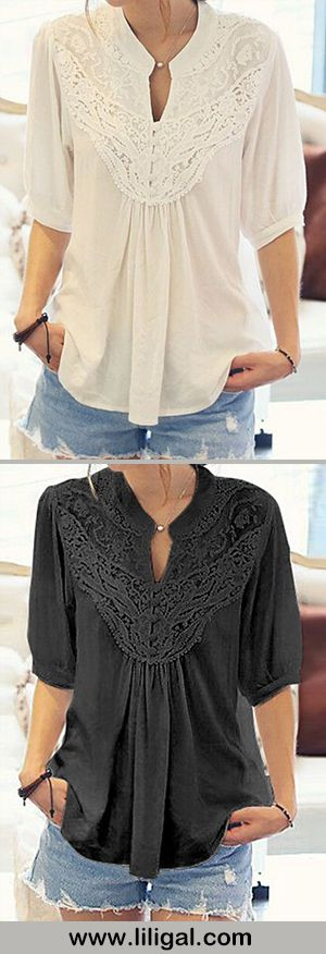 Like the lace detailing on these shirts.  I like how the fit looks too, flowy and a bit loose but doesn't look like a sack.