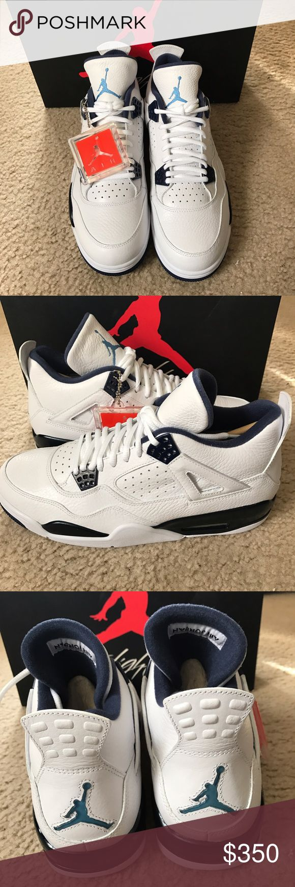 Nike Air Jordan Retro 4 Legend Blue White Size 11 This item is brand new  Ds Mint condition Year: 2015 100% authentic  Guaranteed No trade Any other questions comment me Nike Shoes Sneakers