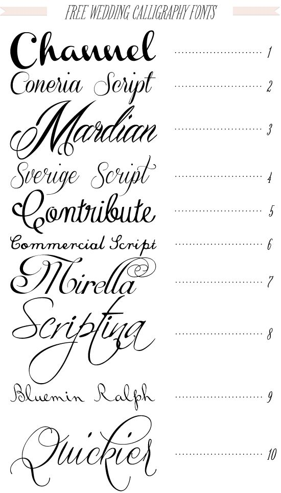 Free 40 fonts for DIY Printable Wedding Invitations--I think we used scriptina on our save the dates!