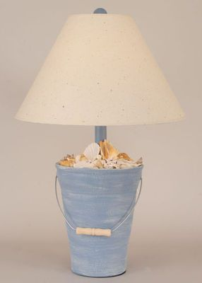 Caribean Blue Shell Beach Bucket Lamp - real shells in the hand painted bucket!