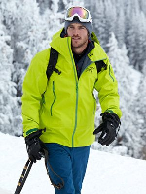 men's fashion / neon ski jacket and blue ski pants outfit l #mens