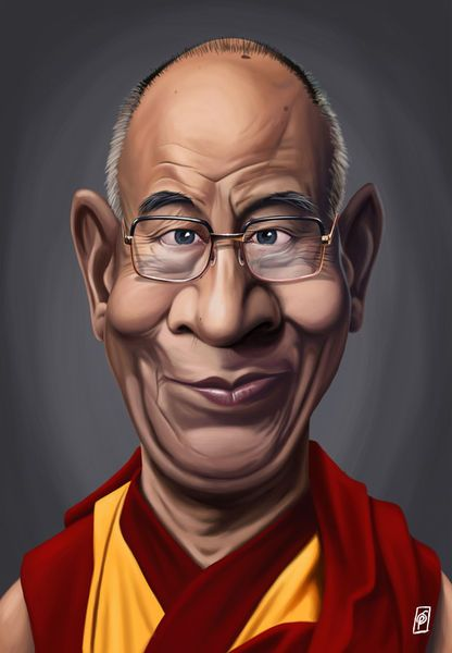 'Celebrity Sunday - Dalai Lama' by rob-art on artflakes.com as poster or art print $14.38 art   decor   wall art   inspiration   caricatures   home decor   idea   humor   gifts