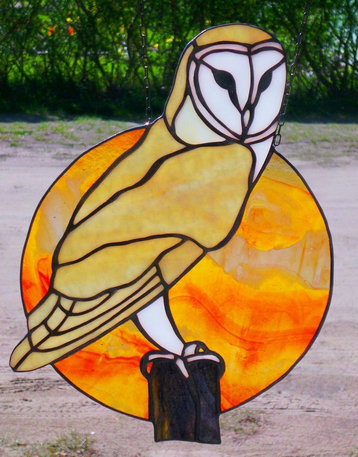 Leaded Glass Window Screen Barn Owl in Front of Sunset Single Piece in Tiffany | eBay