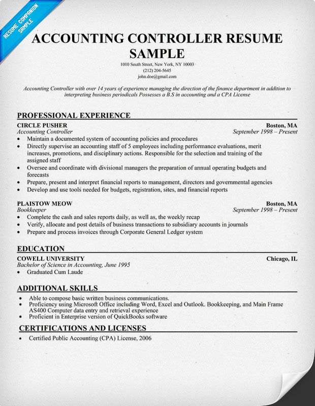Accounting Controller Resume (resumecompanion) Resume - accountant resume template