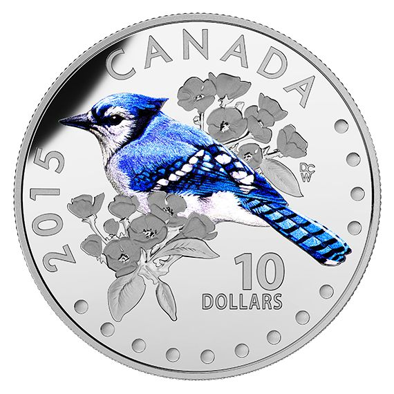 1/2 oz. Fine Silver Coloured Coin – Colourful Songbirds of Canada: The Blue Jay (2015)