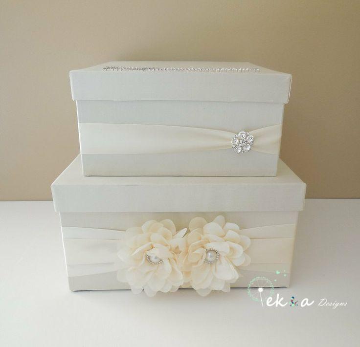 Wedding Gift Card Box Money Holder 2 Tier Ivory