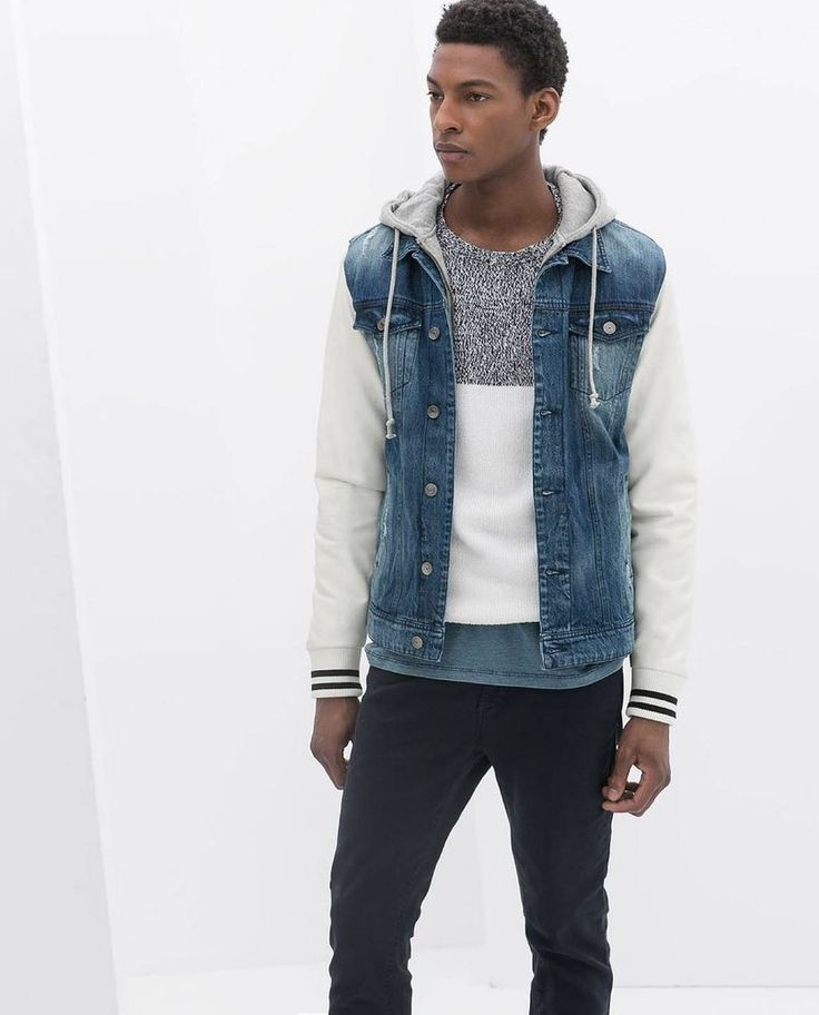 Jean Jacket With Grey Hoodie | Jackets Review