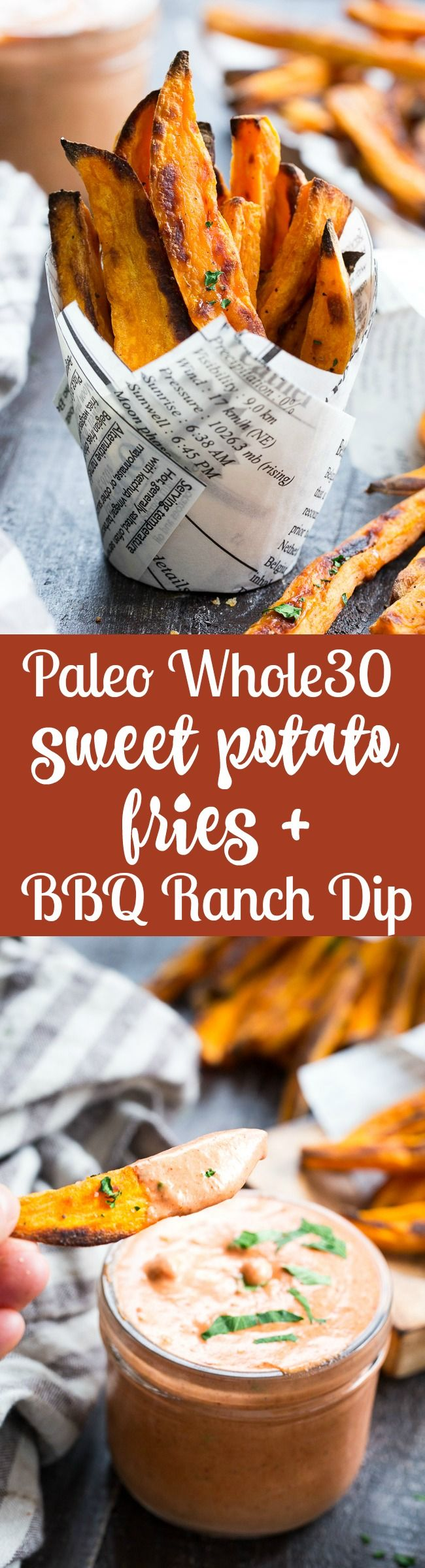 Crispy baked paleo and Whole30 compliant sweet potato fries are not only possible, but easy to make, too!  Served here with an insanely tasty, Whole30 compliant BBQ ranch dip that you'll want to put on everything.  Kid approved, great for a fun snack, side dish, or appetizer any time!