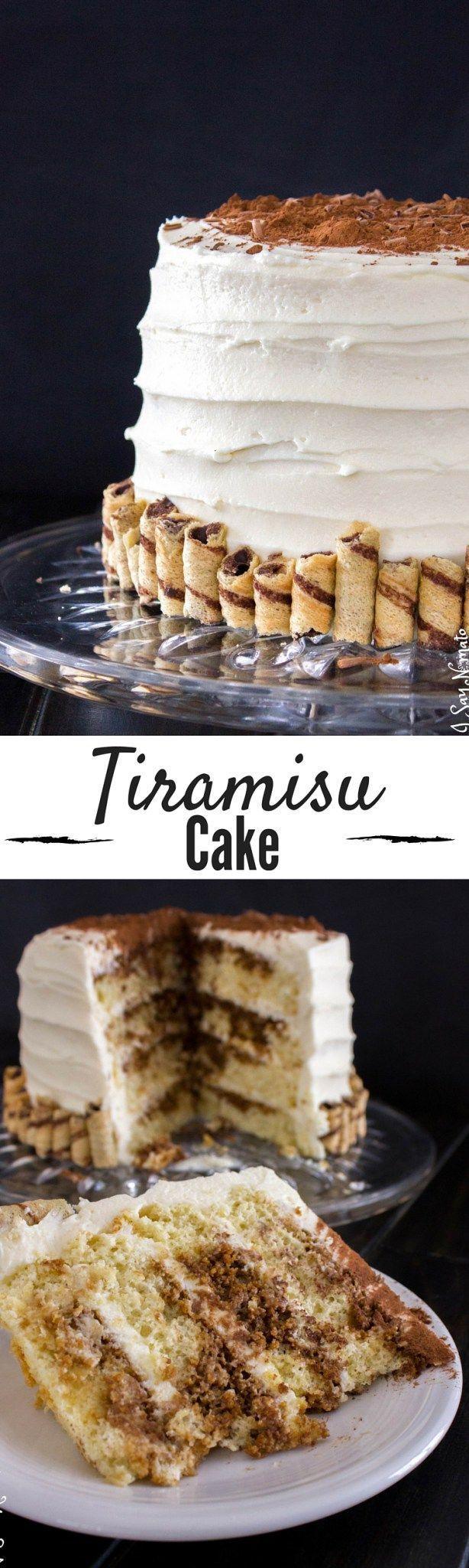 This Tiramisu Cake is THE BEST. Layers of light sponge cake, espresso and rum, and decadent mascarpone frosting!