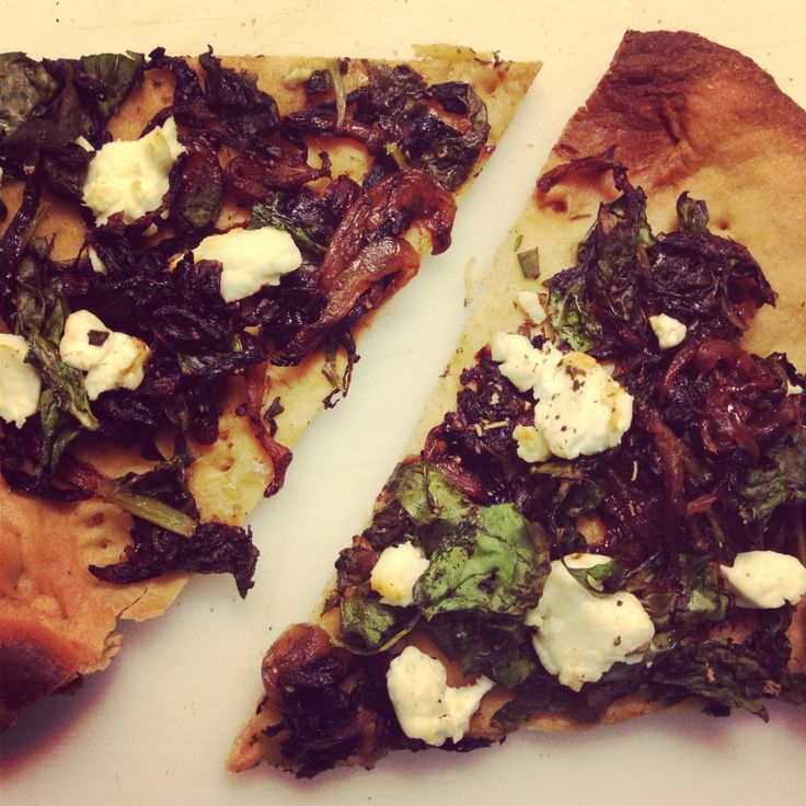 Caramelized Onion, Goat Cheese, and Spinach Flatbread [Pizza] added ...