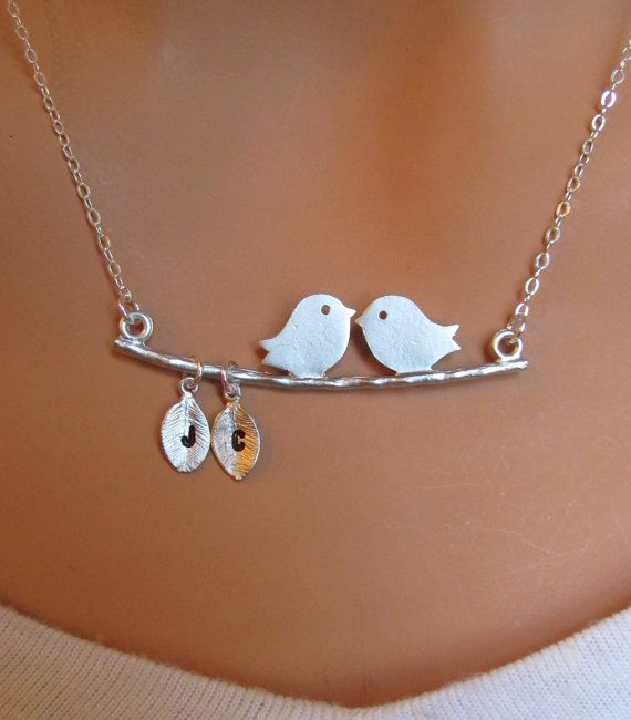 Two Love Birds with two Initial letters on the by RedEnvelopeGifts, $32.00
