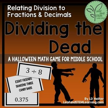 Halloween Math for Middle School | Relating Division to Fractions and Decimals
