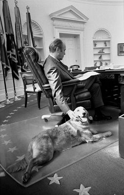 President Ford and his Golden Retriever, Liberty.