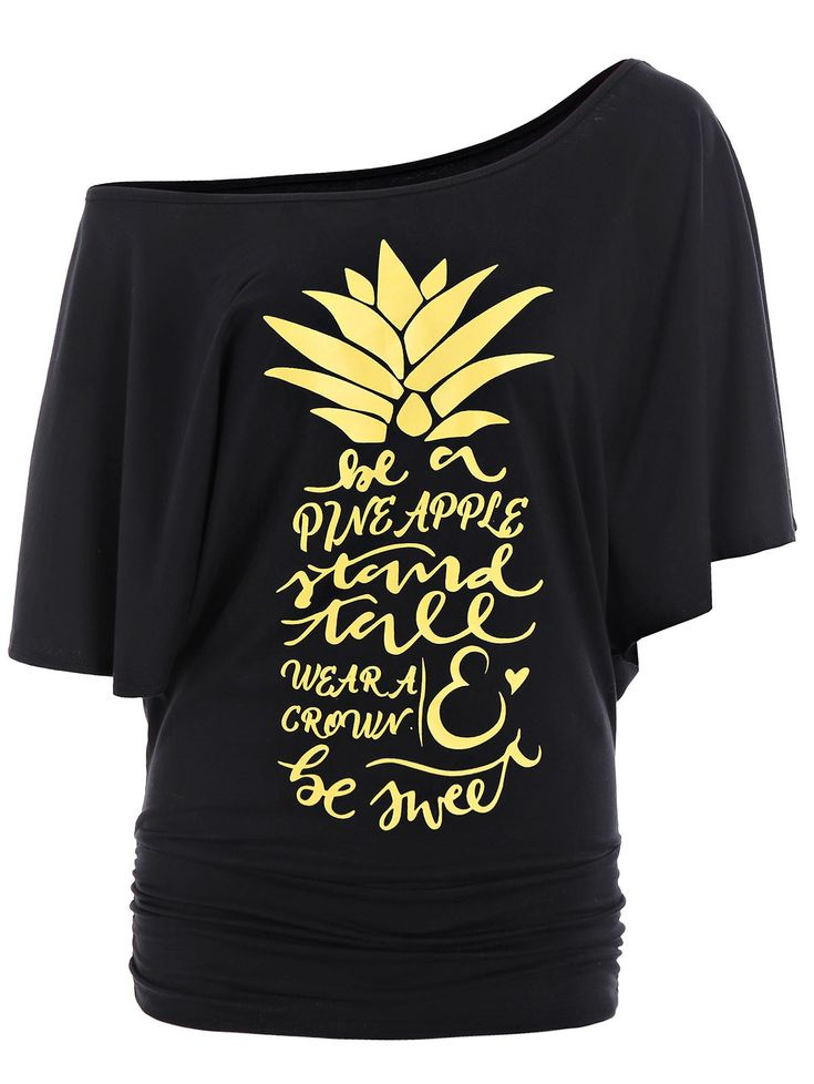 Letters Pineapple Skew Neck Batwing Top