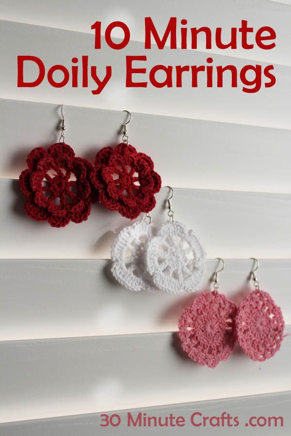 10 Minute Doily Earrings at 30 Minute Crafts ===> It wouldn't take much longer to crochet your own pieces. :)