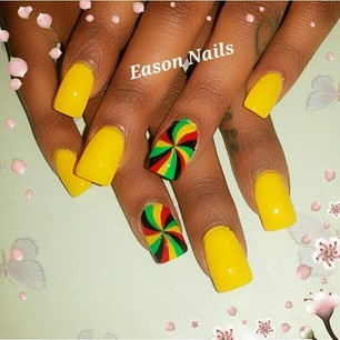 Rasta nails . red would look better than yellow though .