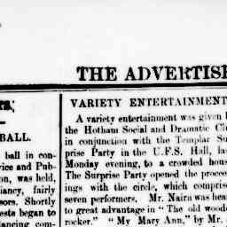 J. B. Stanway - comedy and singing. North Melbourne Advertiser, 4 Jul 1884, p. 3, 'Amusements [Variety entertainment].