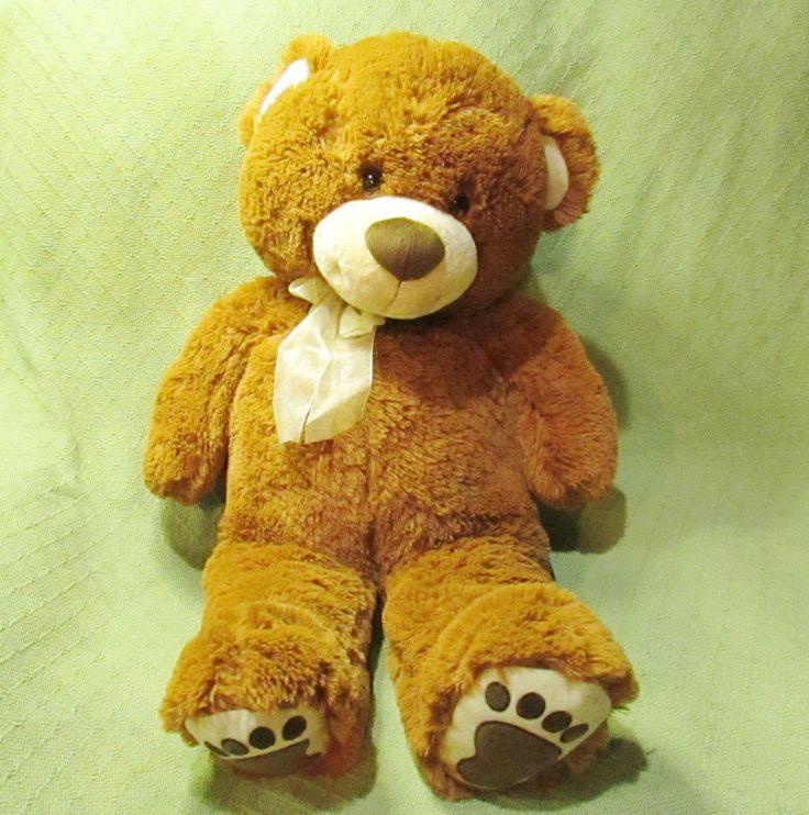 "Fiesta Jumbo TEDDY BEAR 31"" Long Brown Cuddle Bear w/Footprint Plush Stuffed Toy #Fiesta"