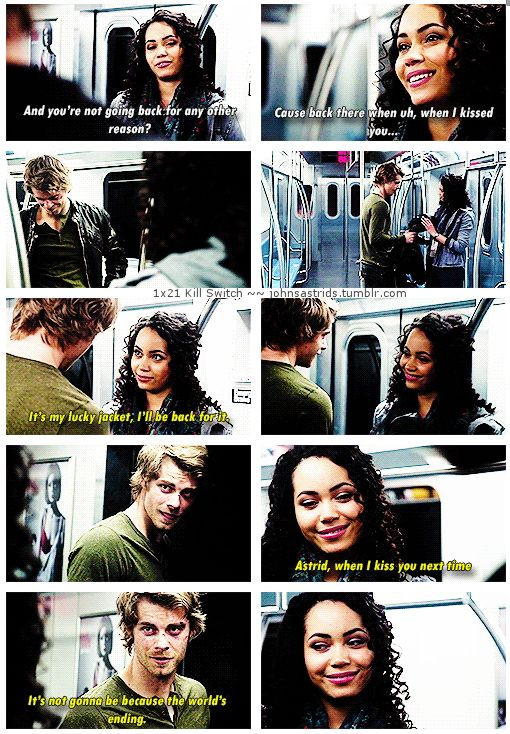 "TTP - 1x21 Kill Switch [gifset] - ""I gotta go back"" - ""Astrid, when I kiss you next time, it's not gonna be because the world's ending."" - John Young, Astrid Finch, Jastrid, The Tomorrow People."