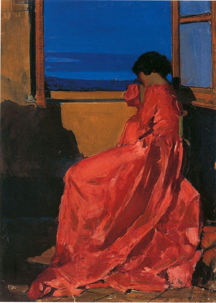 Eugenio Viti (Napoli, 1881 -1952) Olga in rosso 1915-18 olio su tela cm 83x58 Napoli Coll. Privata