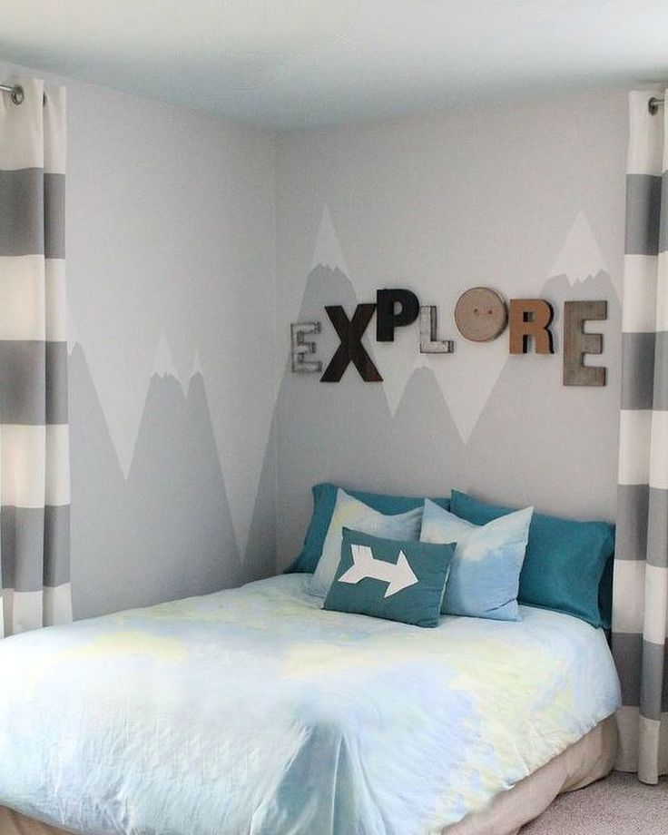 A cute painted mural makes the perfect headboard see how for Mural headboard