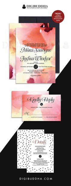 Elegant modern wine red watercolor wedding invitations with black & white dot detailing in a 3 piece suite including RSVP reply card and Details / Info enclosure card. Coordinating backers included. Color envelopes, envelope liners and belly bands also available. digibuddha.com