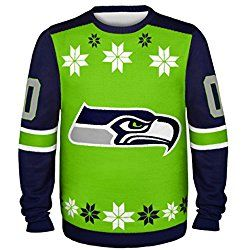NFL Seattle Seahawks Almost Right But Ugly Sweater, Large, Green