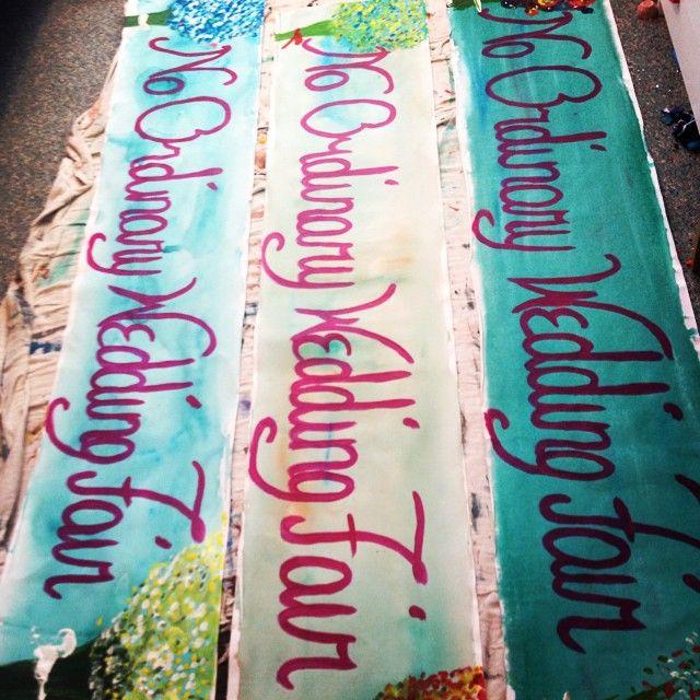 Hand-painted banners for the No Ordinary Wedding Fair. #wedding #weddingfair #decorations http://www.noordinarywedding.com/fair/