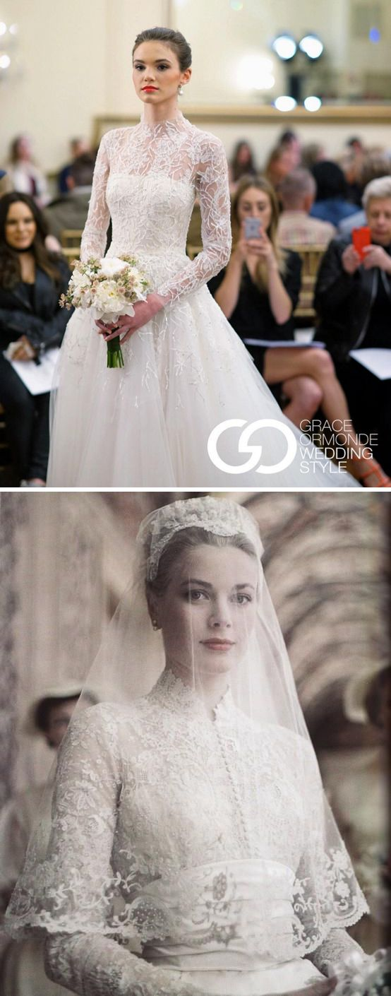 Even 60 years after American actress and Princess of Monaco Grace Kelly's ‪#‎wedding‬, her iconic dress continues to inspire as can be seen from this Peter Langner Couture creation at New York Bridal Fashion Week Spring 2017. {Instagram: theweddingscoop}